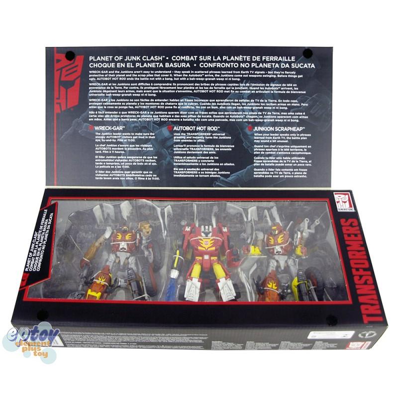 Transformers Platinum Edition Planet of Junk Clash Hot Rod Wreck-Gar Junkion Scrapheap