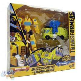 Transformers Cyberverse Buzzworthy Bumblebee Spark Armor Bumblebee & Trash Crash