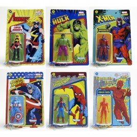 Marvel Legends Recollect Retro 3.75-inch Spider-man Hulk Magneto Captain America Human Torch Carol Danvers Set