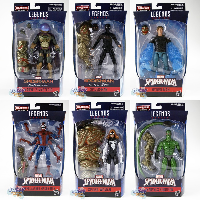 Marvel Spider-Man Build a Figure Molten Man Series 6-inch Figures A set of 6