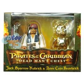 Kubrick & Bearbrick 100% Pirates of the Caribbean Jack Sparrow Aztec Coin Set